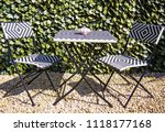 table and chairs in back garden | Shutterstock . vector #1118177168