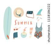 summer beach kit of objects.... | Shutterstock .eps vector #1118186222