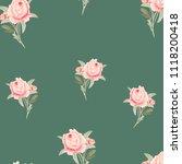 pattern  watercolor flowers ... | Shutterstock . vector #1118200418