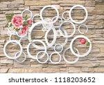 3d wallpaper design with brick... | Shutterstock . vector #1118203652