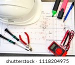 office table or desk with the... | Shutterstock . vector #1118204975