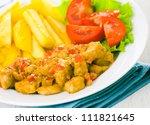 chicken with vegetables in... | Shutterstock . vector #111821645