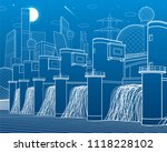hydro power plant. river dam.... | Shutterstock .eps vector #1118228102