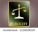 gold emblem with scale icon... | Shutterstock .eps vector #1118228135