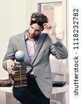 cool guy wears grey suit.... | Shutterstock . vector #1118232782