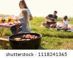 modern barbecue grill with... | Shutterstock . vector #1118241365