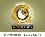 gold shiny badge with chart... | Shutterstock .eps vector #1118253146