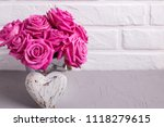 bright pink roses flowers in... | Shutterstock . vector #1118279615