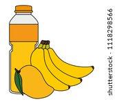 juice fruit bottle with bananas ... | Shutterstock .eps vector #1118298566