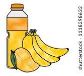 juice fruit bottle with bananas ... | Shutterstock .eps vector #1118298632