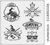 set of surfing emblems  labels... | Shutterstock .eps vector #1118302106