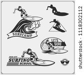 set of surfing emblems  labels... | Shutterstock .eps vector #1118302112