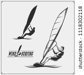 Set Of Windsurfing Emblems ...