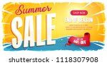 summer sale wide banner ... | Shutterstock .eps vector #1118307908