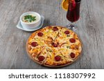 hot homemade pizza with cheese... | Shutterstock . vector #1118307992
