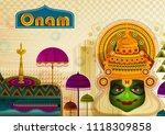 happy onam festival greetings... | Shutterstock .eps vector #1118309858