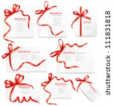 set of card notes with red gift ... | Shutterstock .eps vector #111831818