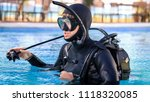 scuba diving instructor... | Shutterstock . vector #1118320085