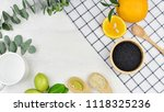 top view of fresh fruits and... | Shutterstock . vector #1118325236