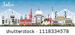 india city skyline with color... | Shutterstock .eps vector #1118334578