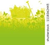 handcart in high dense grass | Shutterstock .eps vector #1118362445