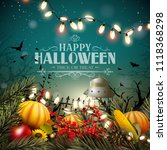 halloween poster with pumpkins... | Shutterstock .eps vector #1118368298