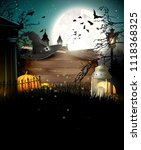 halloween poster with pumpkins... | Shutterstock .eps vector #1118368325