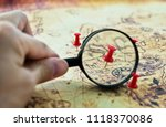 magnifying glass looking at pin ... | Shutterstock . vector #1118370086