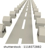 3d image of street with houses | Shutterstock . vector #1118372882