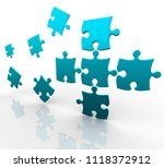 3d puzzle flying in space | Shutterstock . vector #1118372912