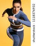 attractive woman runner in... | Shutterstock . vector #1118376932