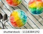 sweet homemade shaved rainbow... | Shutterstock . vector #1118384192