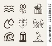 set of 9 nature outline icons  | Shutterstock .eps vector #1118386892
