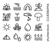 set of 16 nature outline icons... | Shutterstock .eps vector #1118386946