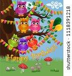 a cute flirtatious owl sits on... | Shutterstock . vector #1118391218