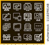 set of 16 monitor outline icons ... | Shutterstock .eps vector #1118398148