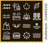set of 16 nature outline icons... | Shutterstock .eps vector #1118402132