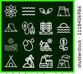 set of 16 nature outline icons... | Shutterstock .eps vector #1118406986