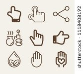 set of 9 hand outline icons...   Shutterstock .eps vector #1118408192