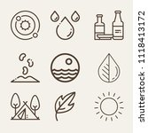 set of 9 nature outline icons... | Shutterstock .eps vector #1118413172