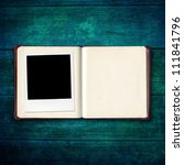 open diary book with photo... | Shutterstock . vector #111841796