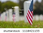 small american flags and...   Shutterstock . vector #1118421155