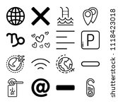 set of 16 signs outline icons...   Shutterstock .eps vector #1118423018