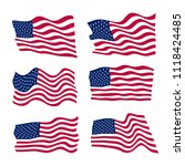 usa flag set on white... | Shutterstock .eps vector #1118424485