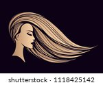 beautiful blonde woman with... | Shutterstock .eps vector #1118425142