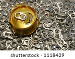 Crushed Soda Cans pop tops - stock photo