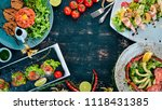 food. a set of delicious dishes ... | Shutterstock . vector #1118431385