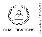 qualifications line icon.... | Shutterstock . vector #1118464025