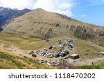 gergeti   may 4  tourists enjoy ... | Shutterstock . vector #1118470202
