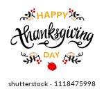 happy thanksgiving hand drawn... | Shutterstock .eps vector #1118475998